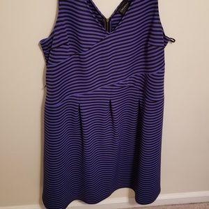 {Lane Bryant} Blue/Black Striped A-Line Dress